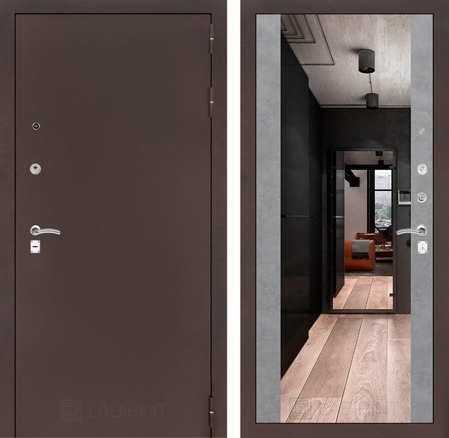 Входная дверь Лабиринт Классик с Зеркалом Максимум (Антик медный / Бетон светлый)