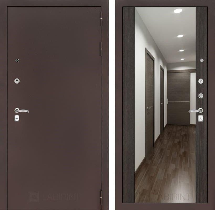 Входная дверь Лабиринт Классик с Зеркалом Максимум (Антик медный / Венге)