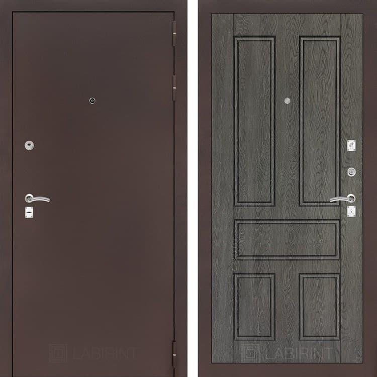 Входная дверь Лабиринт Классик 10 (Антик медный / Дуб филадельфия графит)