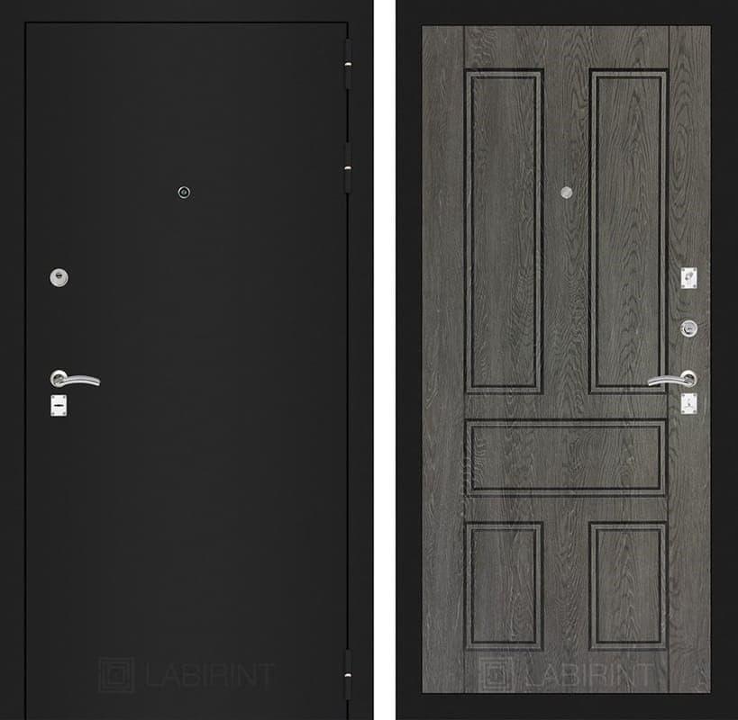Входная дверь Лабиринт Классик 10 (Шагрень черная / Дуб филадельфия графит)