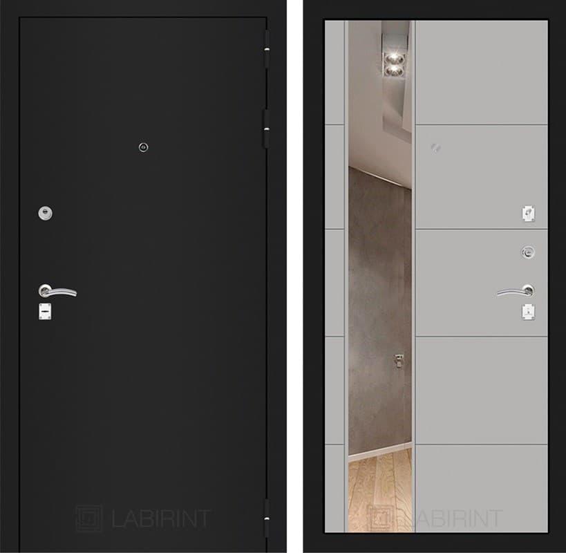 Входная дверь Лабиринт Классик 19 Зеркало (Шагрень черная / Грей софт)