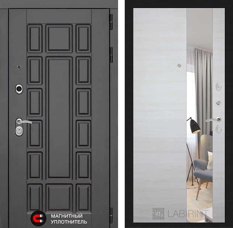 Входная дверь Лабиринт Нью-Йорк с Зеркалом (Венге / Акация светлая горизонтальная)