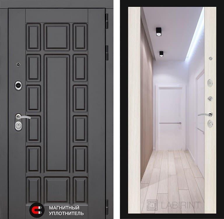 Входная дверь Лабиринт Нью-Йорк с Зеркалом Максимум (Венге / Сандал белый)
