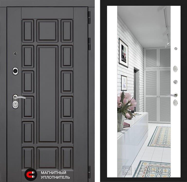 Входная дверь Лабиринт Нью-Йорк с зеркалом Максимум (Венге / Белый софт)