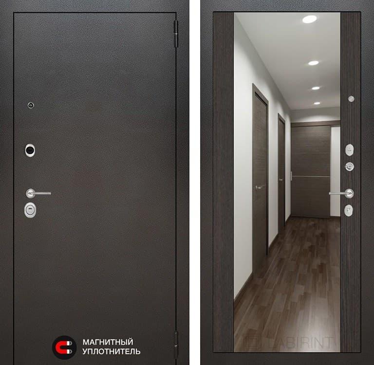 Входная дверь Лабиринт Сильвер с зеркалом Максимум (Антик темное серебро / Венге)