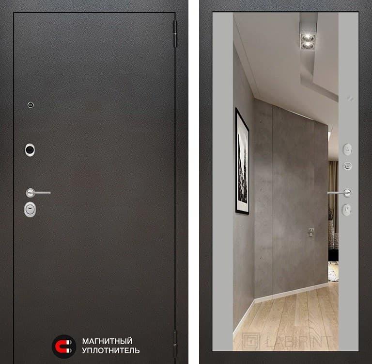 Входная дверь Лабиринт Сильвер с зеркалом Максимум (Антик темное серебро / Софт Грей)