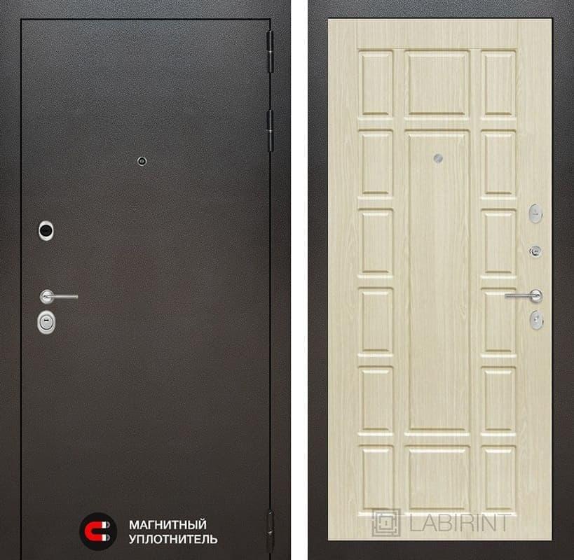 Входная дверь Лабиринт Сильвер 12 (Антик темное серебро / Дуб беленый)