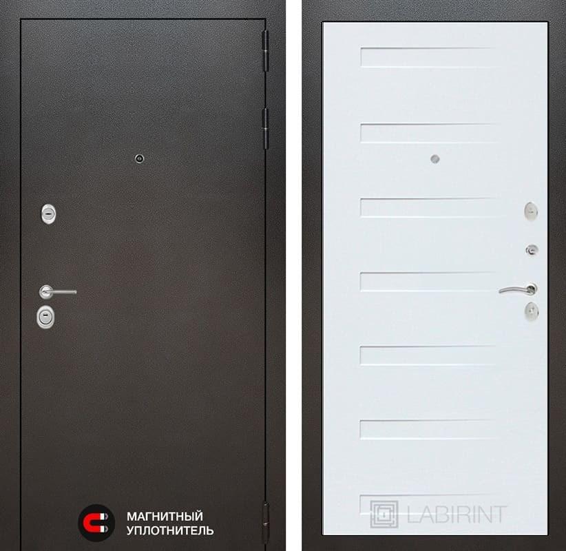 Входная дверь Лабиринт Сильвер 14 (Антик темное серебро / Дуб кантри белый)