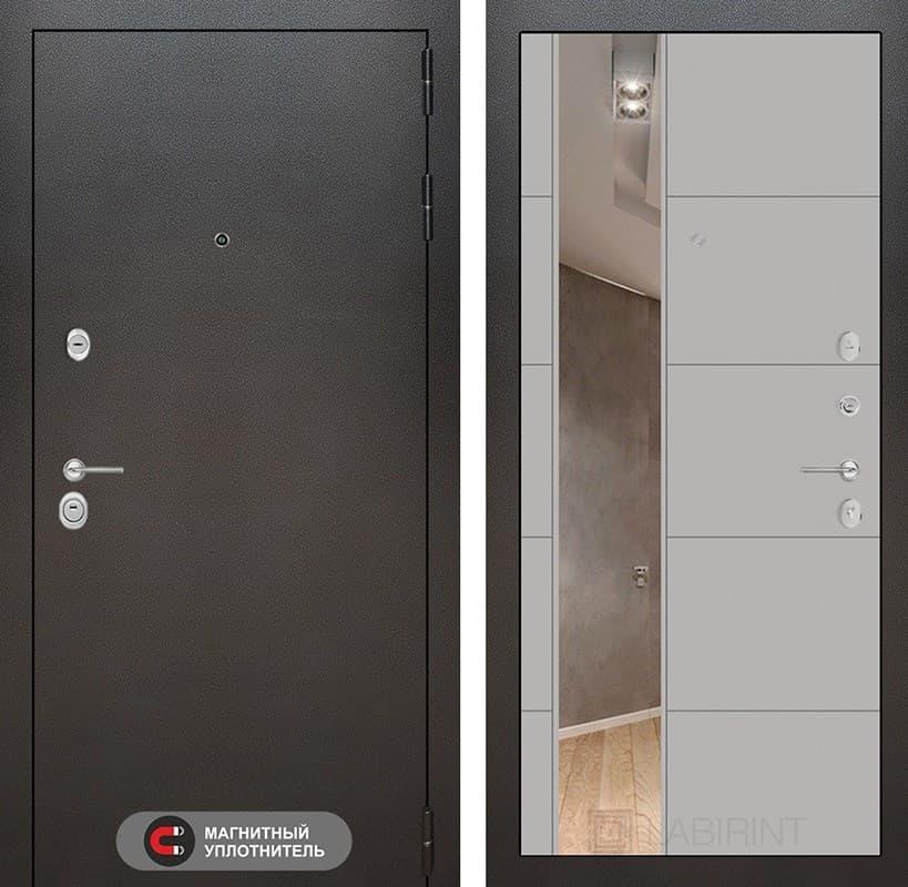 Входная дверь Лабиринт Сильвер 19 Зеркало (Антик темное серебро / Грей софт)