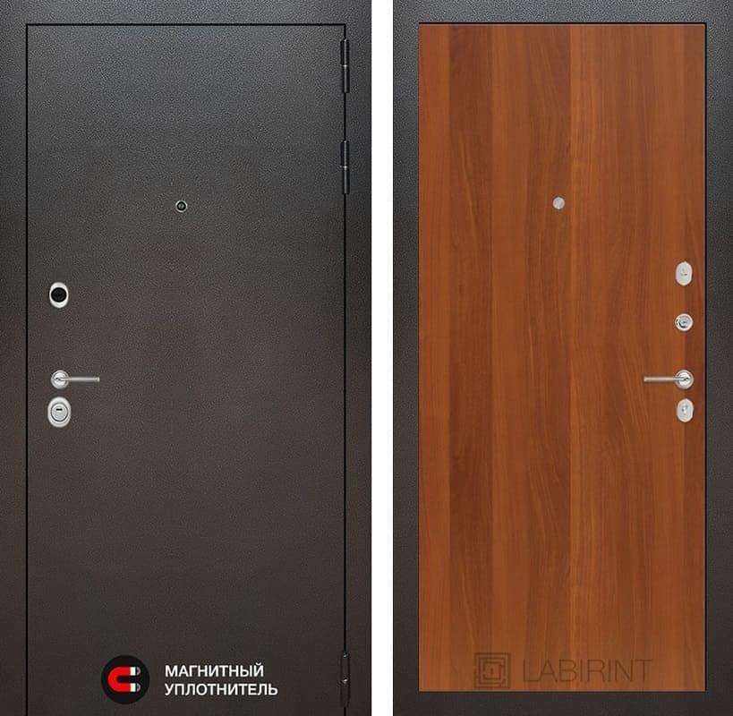 Входная дверь Лабиринт Сильвер 5 (Антик темное серебро / Итальянский орех)