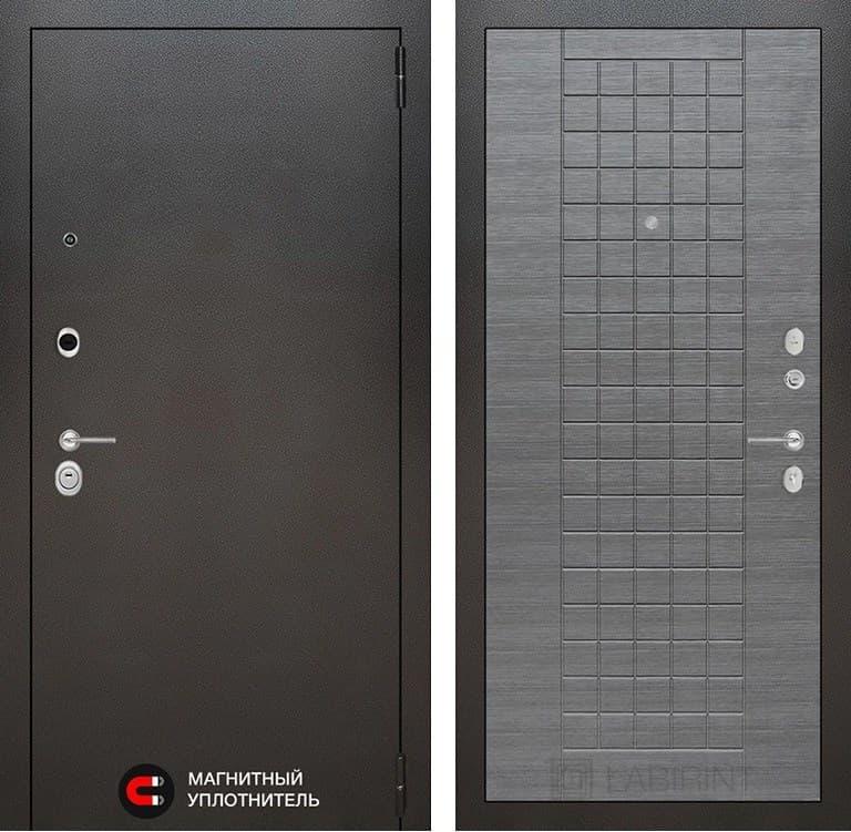 Входная дверь Лабиринт Сильвер 9 (Антик темное серебро / Лен сильвер грей)