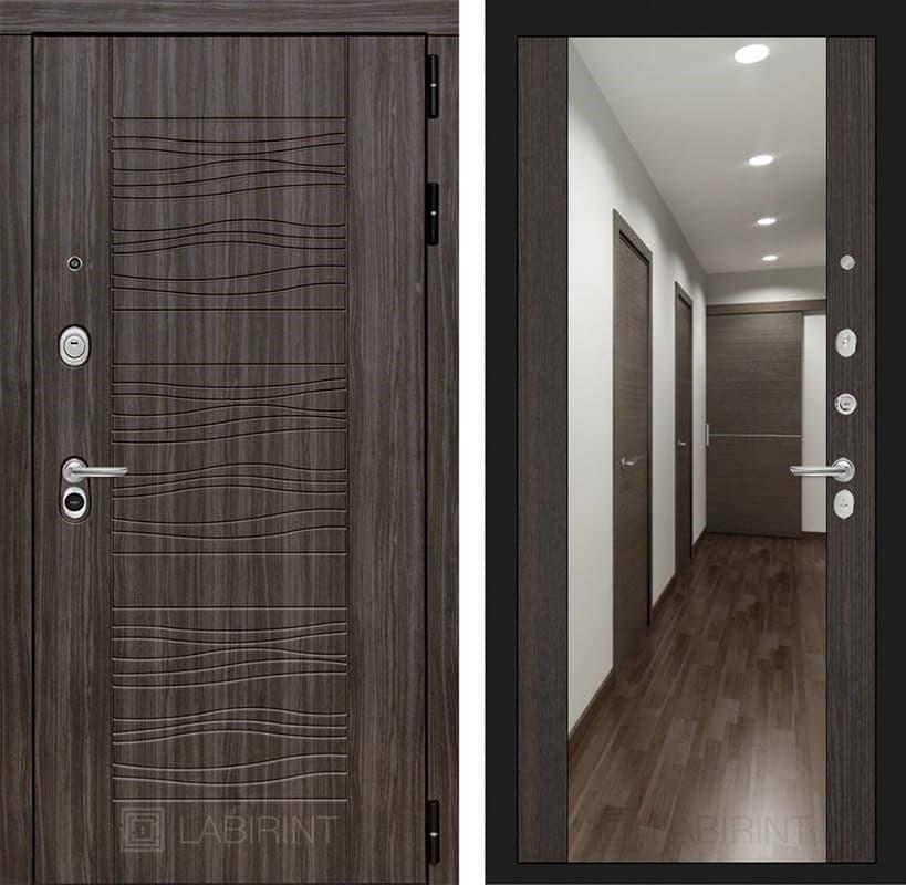 Входная дверь Лабиринт Сканди с Зеркалом Максимум (Дарк Грей / Венге)