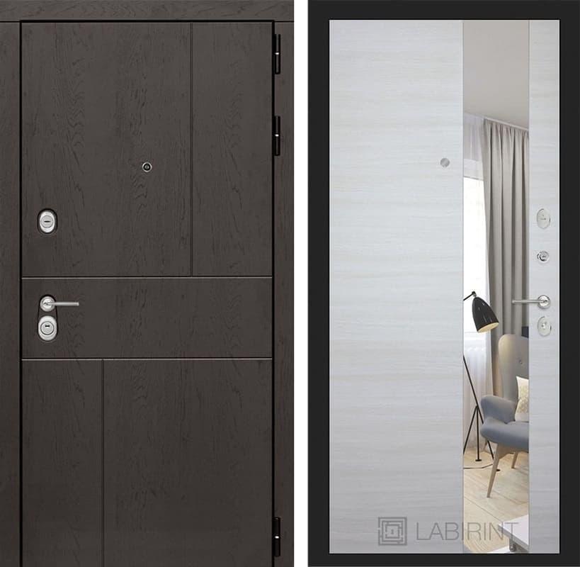 Входная дверь Лабиринт Урбан с Зеркалом (Дуб горький шоколад / Акация светлая)