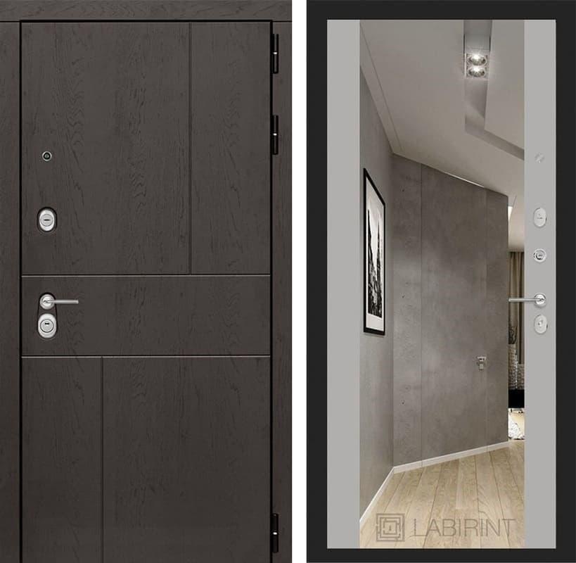 Входная дверь Лабиринт Урбан с Зеркалом Максимум (Дуб горький шоколад / Грей софт)