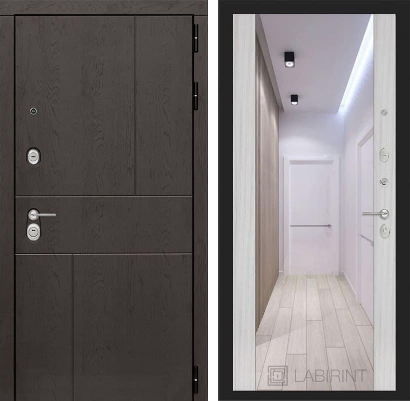 Входная дверь Лабиринт Урбан с Зеркалом Максимум (Дуб горький шоколад / Сандал белый)
