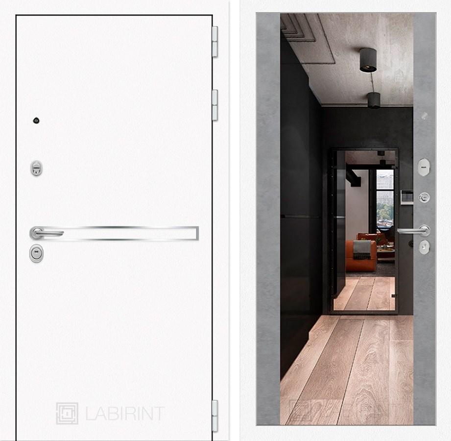 Входная дверь Лабиринт Line White с Зеркалом Максимум (Шагрень белая / Бетон светлый)