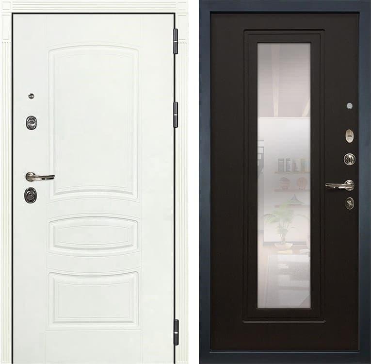 Входная дверь Лекс Сенатор 3К Шагрень белая с Зеркалом (№22 Венге)