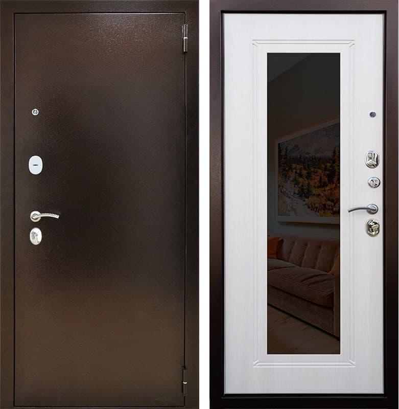 Входная дверь Снедо Патриот 2К Зеркало (Медный антик / Белая лиственница)