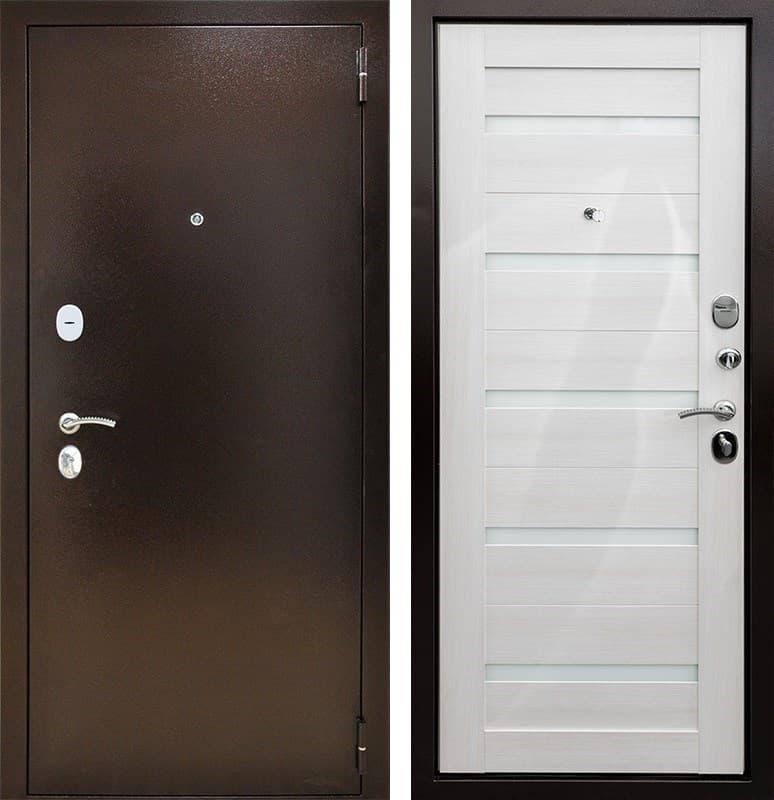 Входная дверь Снедо Патриот 2К Царга (Медный антик / Белая лиственница)