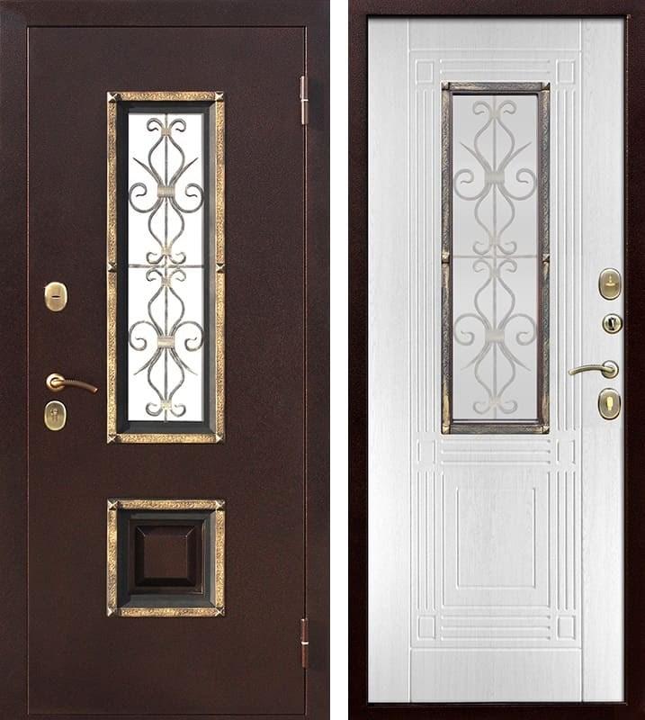 Входная дверь со стеклопакетом и ковкой Венеция (Антик медь / Ясень белый)