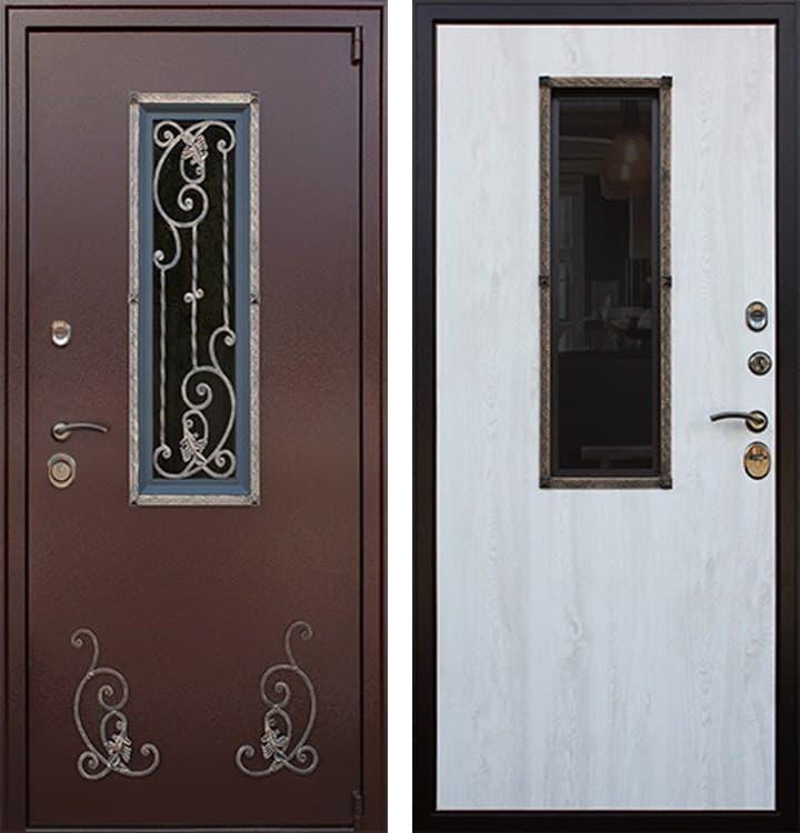 Входная дверь со стеклопакетом и ковкой Престиж (Молоток шоколад / Сосна белая)