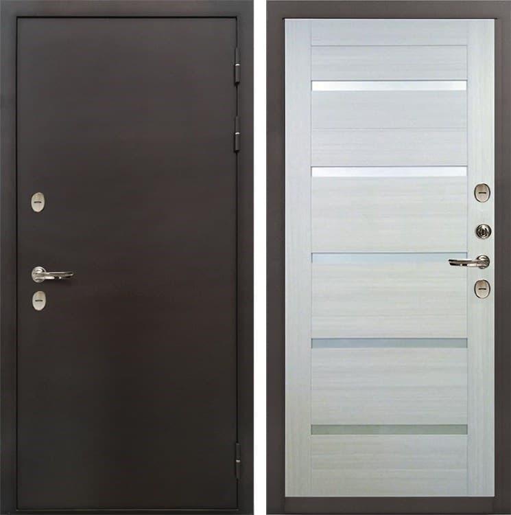Входная дверь с терморазрывом Лекс Термо Сибирь 3К Клеопатра-2 Беленый дуб (панель №58)