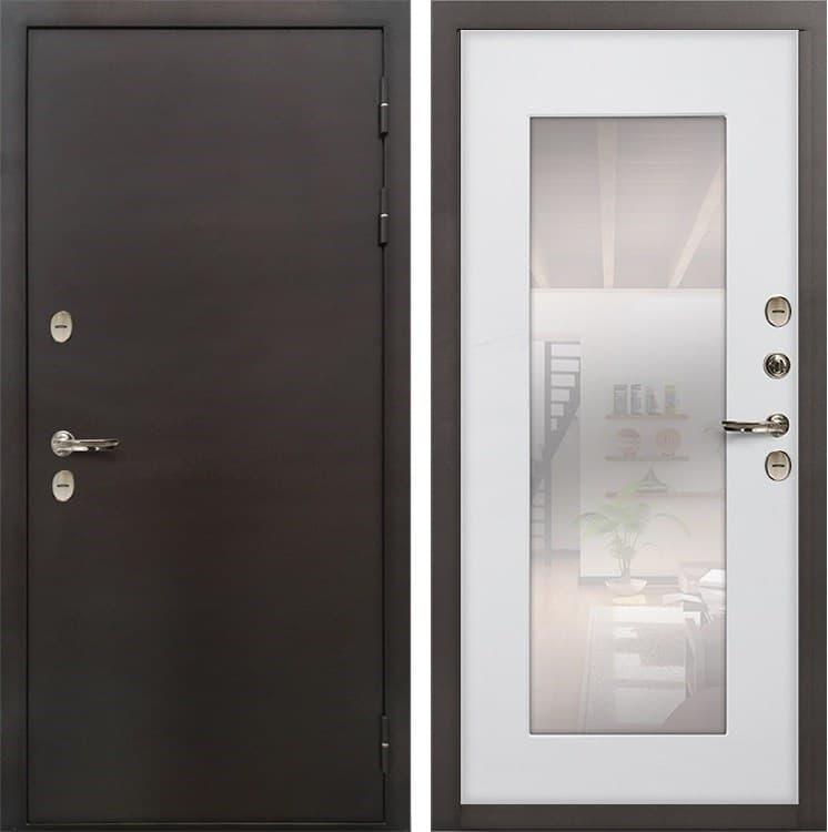 Входная дверь с терморазрывом Лекс Термо Сибирь 3К с Зеркалом Ясень белый (панель №37)