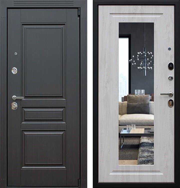 Входная металлическая дверь АСД Гермес 3К New с Зеркалом Элит (Венге / Сосна белая)
