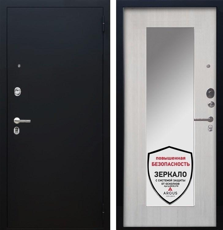 Входная металлическая дверь Аргус Люкс ПРО Милли с Зеркалом (Чёрный шелк / Ларче светлый)