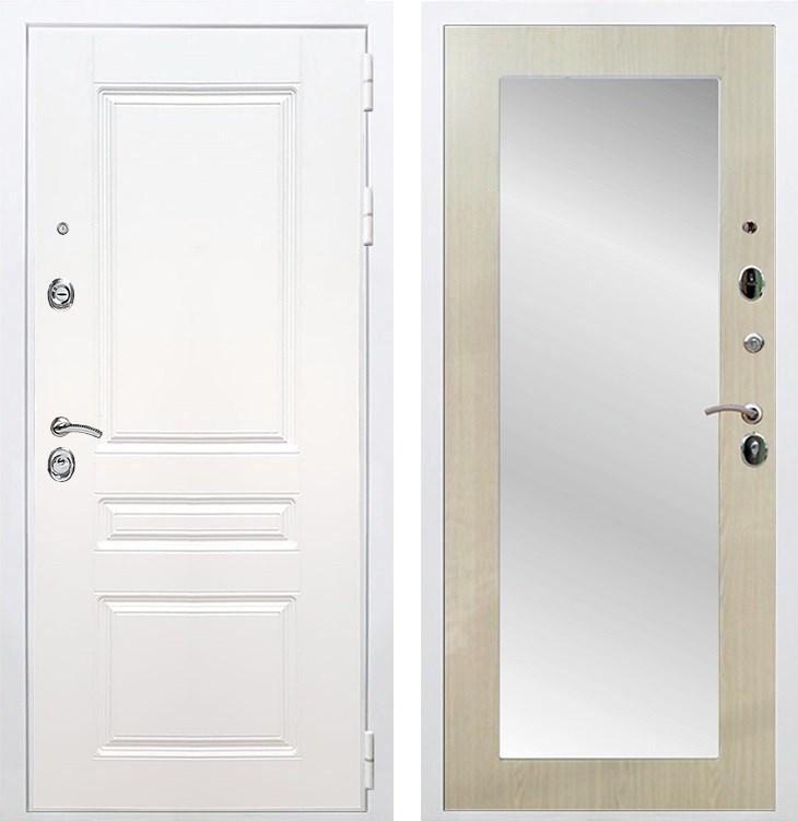 Входная металлическая дверь Армада Премиум Н Зеркало Пастораль (Белый / Дуб белёный)
