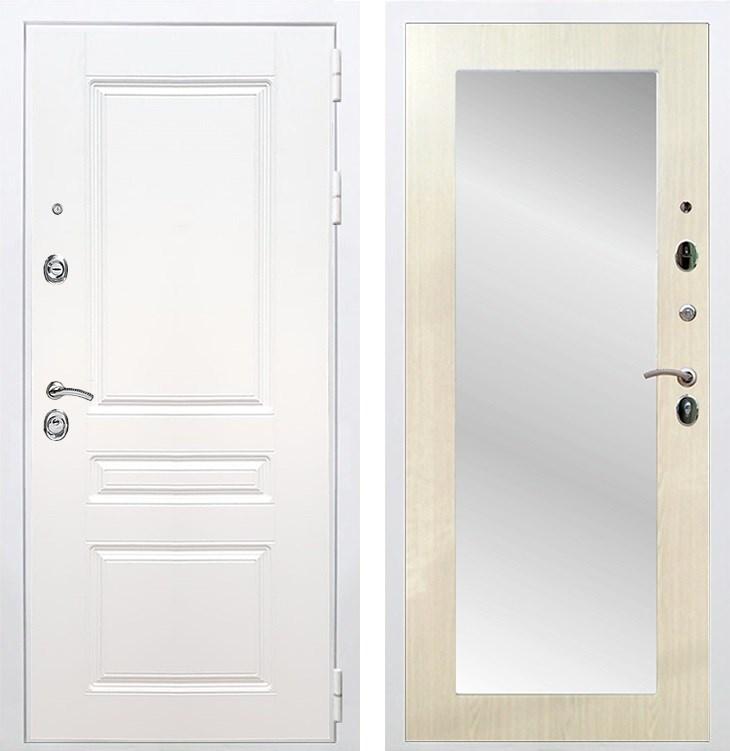 Входная металлическая дверь Армада Премиум Н Зеркало Пастораль (Белый / Лиственница беж)