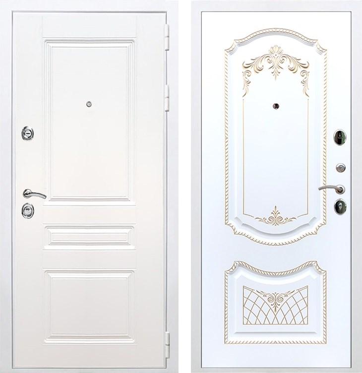 Входная металлическая дверь Армада Премиум Н ФЛ-317 (Белый / Белый патина Золото)