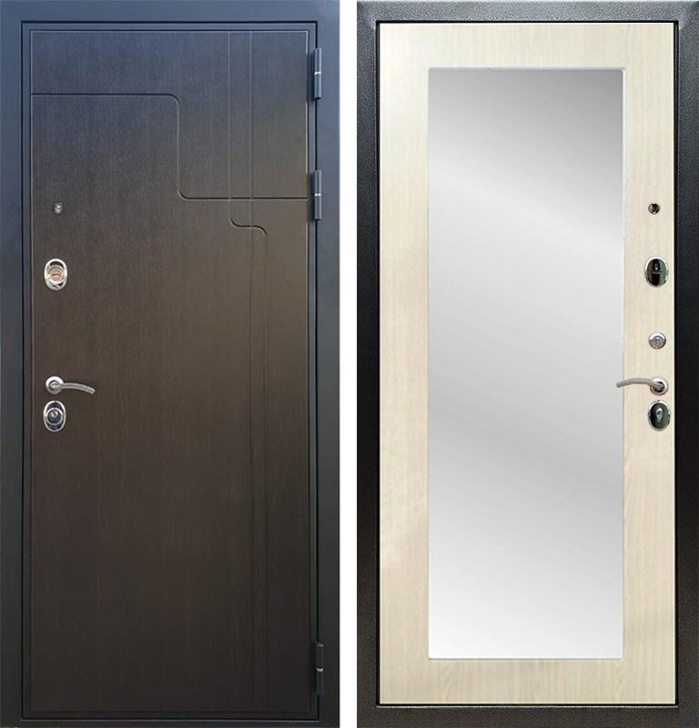 Входная металлическая дверь Армада Премиум 246 с Зеркалом Пастораль (Венге / Лиственница беж)