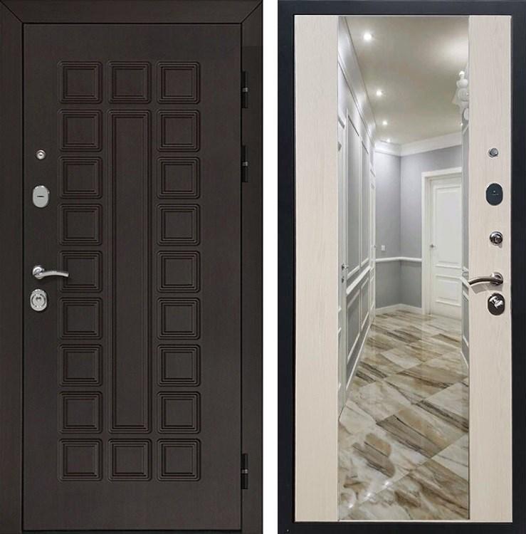 Входная металлическая дверь Армада Сенатор СБ-16 с Зеркалом (Венге / Лиственница беж)