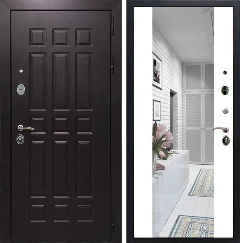 Входная металлическая дверь Армада Сенатор 8 с Зеркалом СБ-16 (Венге / Белый матовый)