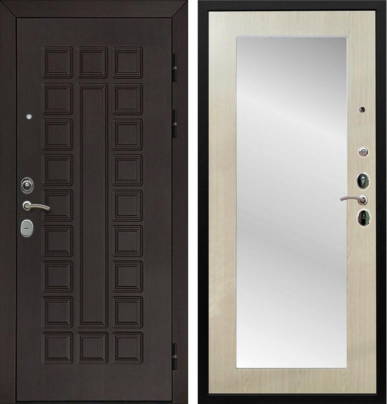 Входная металлическая дверь Армада Сенатор Cisa с Зеркалом Пастораль (Венге / Дуб белёный)