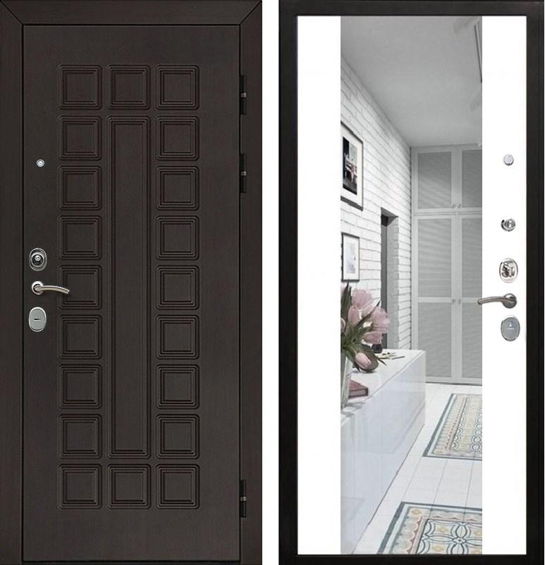 Входная металлическая дверь Армада Сенатор Cisa с Зеркалом СБ-16 (Венге / Белый матовый)