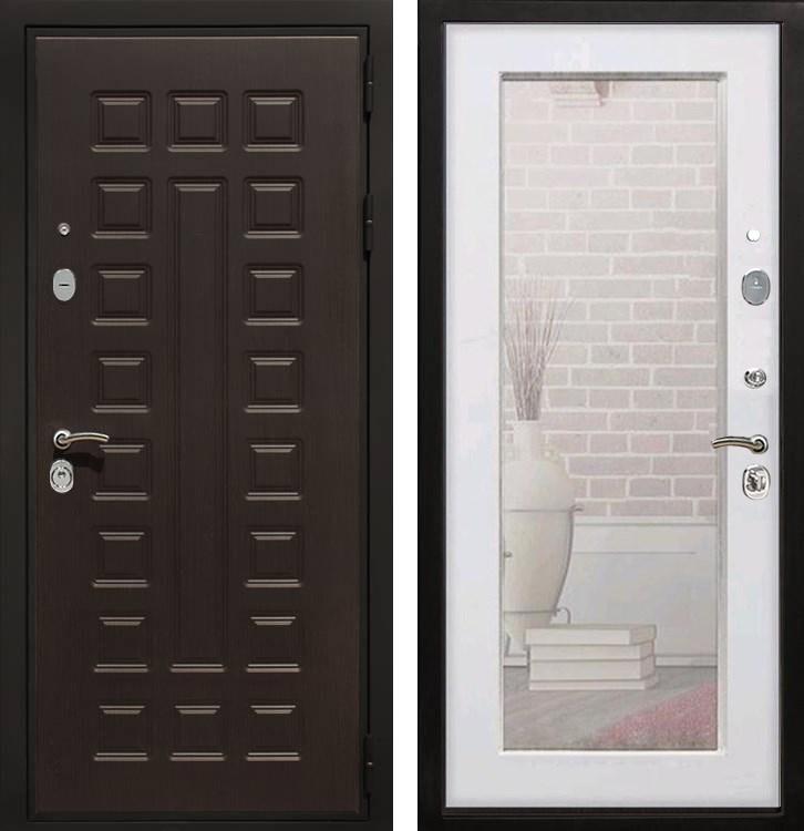 Входная металлическая дверь Армада Триумф 3К с Зеркалом Пастораль (Венге / Белый ясень)