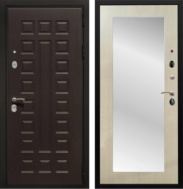Входная металлическая дверь Армада Триумф 3К с Зеркалом Пастораль (Венге / Дуб белёный)