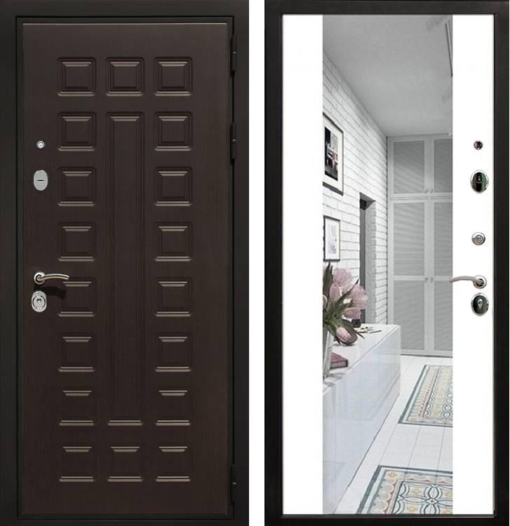 Входная металлическая дверь Армада Триумф 3К с Зеркалом СБ-16 (Венге / Белый матовый)