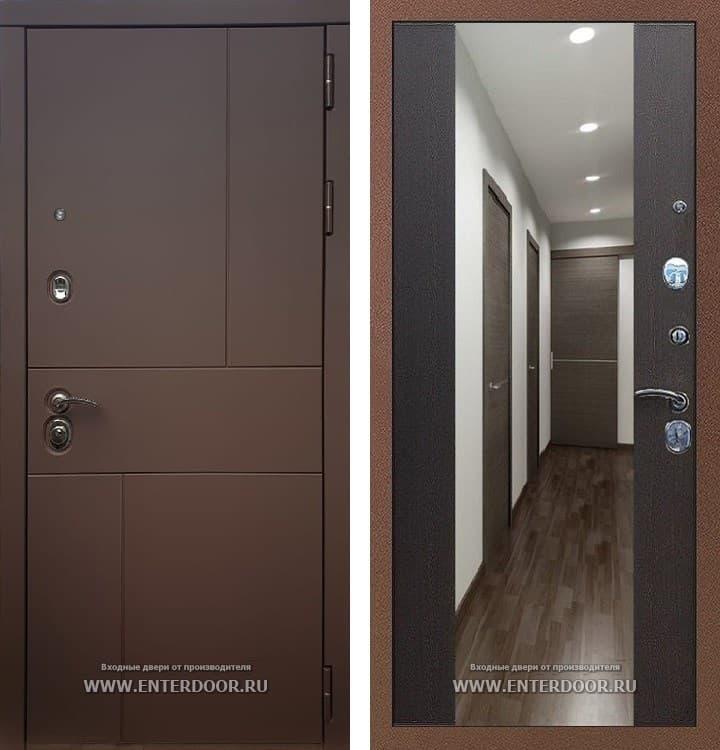 Входная металлическая дверь Армада Урбан СБ-16 с Зеркалом (Ясень шоколадный / Венге)