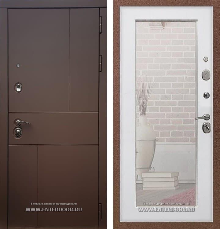 Входная металлическая дверь Армада Урбан с Зеркалом Пастораль (Ясень шоколадный / Белый ясень)