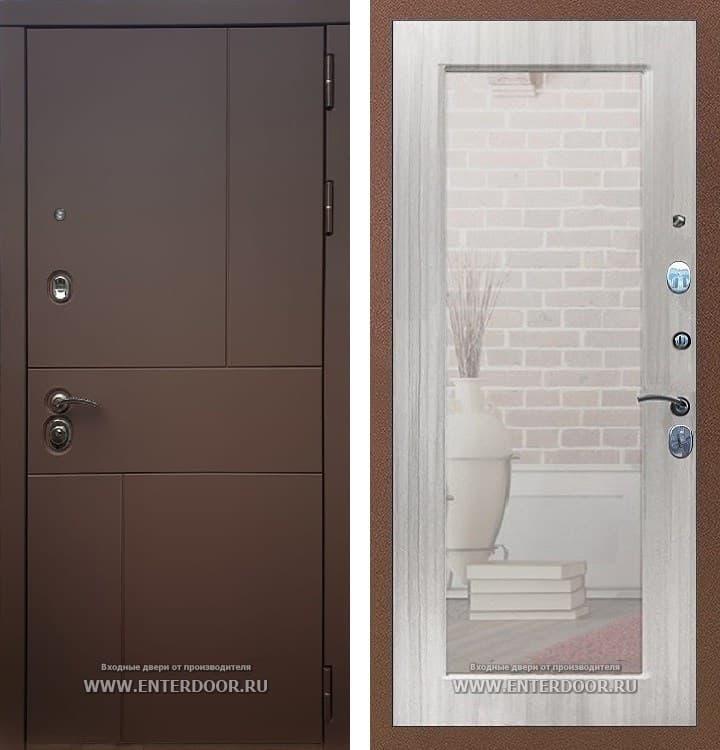 Входная металлическая дверь Армада Урбан с Зеркалом Пастораль (Ясень шоколадный / Сандал белый)
