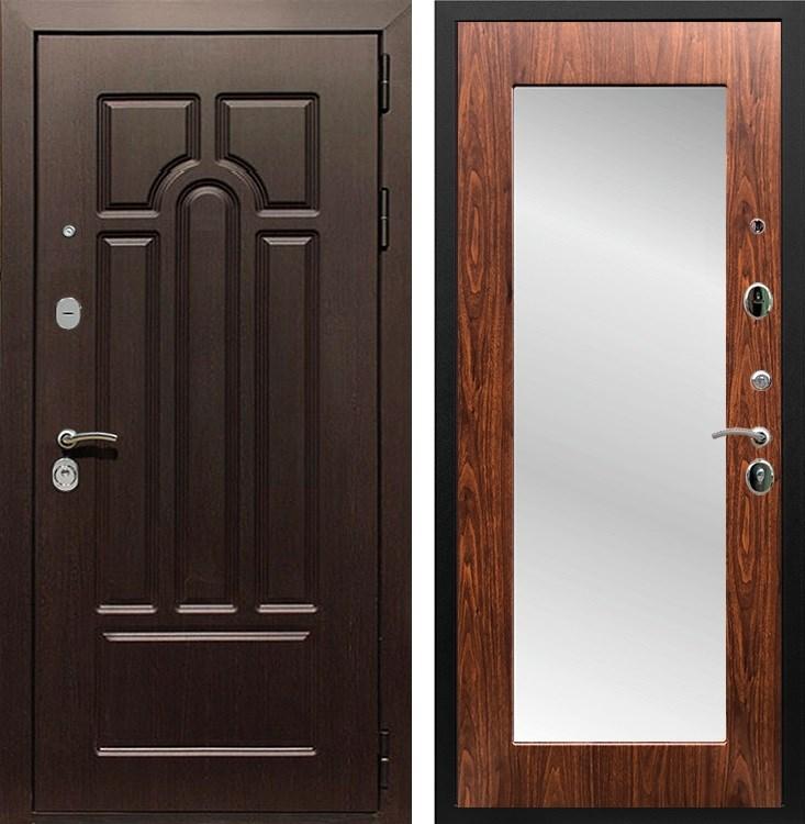 Входная металлическая дверь Армада Эврика 3К с Зеркалом Пастораль (Венге / Берёза морёная)