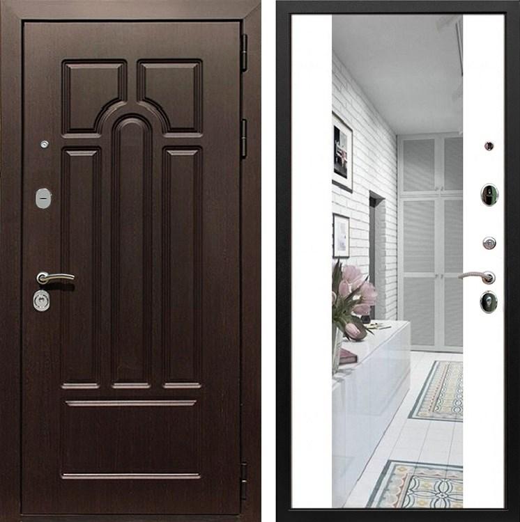 Входная металлическая дверь Армада Эврика 3К с Зеркалом СБ-16 (Венге / Белый матовый)