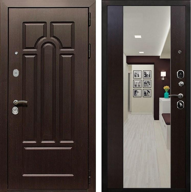 Входная металлическая дверь Армада Эврика 3К с Зеркалом СБ-16 (Венге / Венге)