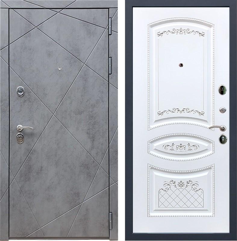 Входная металлическая дверь Армада 13 ФЛ-316 (Бетон тёмный / Белый патина Серебро)