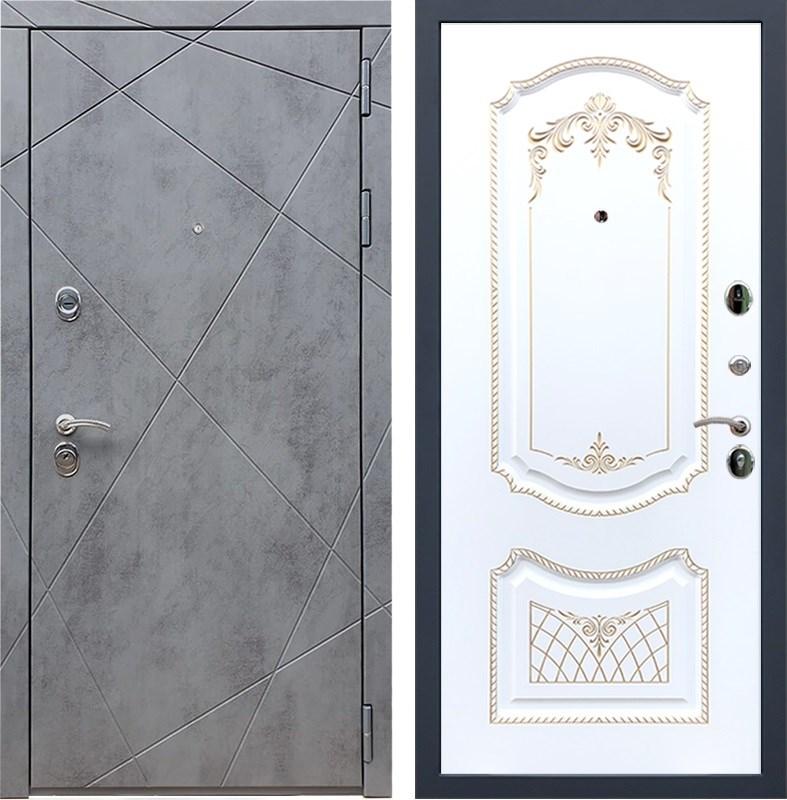Входная металлическая дверь Армада 13 ФЛ-317 (Бетон тёмный / Белый патина Золото)