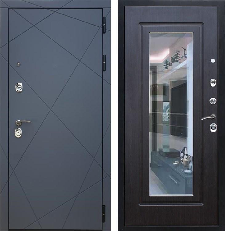 Входная металлическая дверь Армада 13 с Зеркалом (Графит софт / Венге)