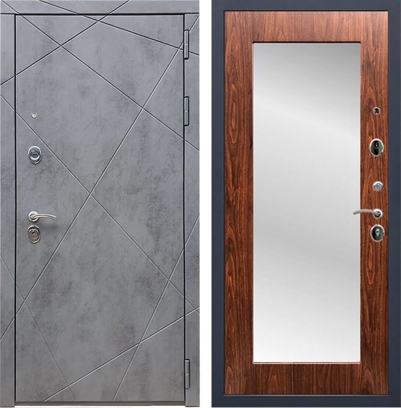 Входная металлическая дверь Армада 13 с Зеркалом Пастораль (Бетон тёмный / Берёза морёная)